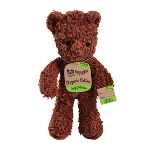 Organic Cotton bear shaped plush toy with brown fur