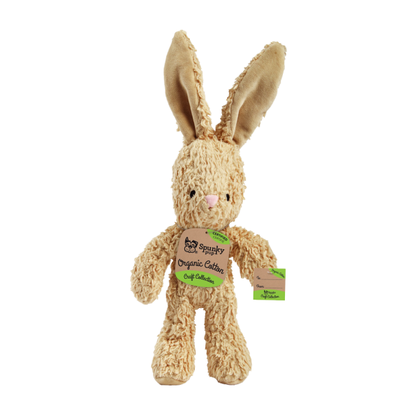 Organic Cotton bunny shaped plush toy with white fur
