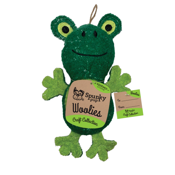 Woolies Frog shaped toy, green with light green accents