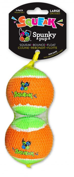 Two Spunky Pup Tennis balls stacked inside mesh netting